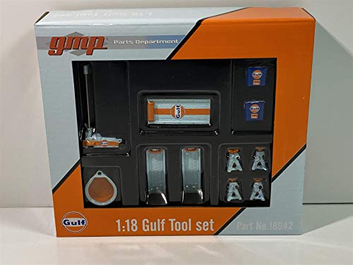 Gulf Oil Shop Tools Set of 6 Pieces 1/18 Diecast Replica by GMP 18942