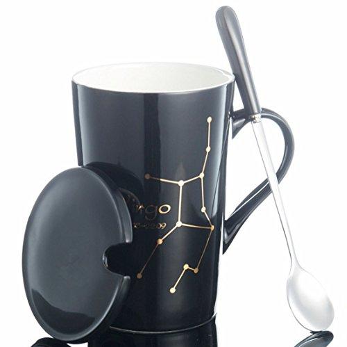 Keramiktasse Paar-Tasse mit goldener Konstellation Gemälde JINCHANGWU Kaffeetasse mit Löffel ausstatten und Becherdeckel schwarze Tasse - Jungfrau