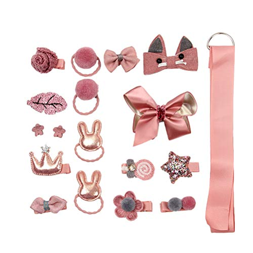 Baby Girl's Hair Accessories Hair Clips Ties Ribbons and Bows for Daily Use Custome Play(Salmon)