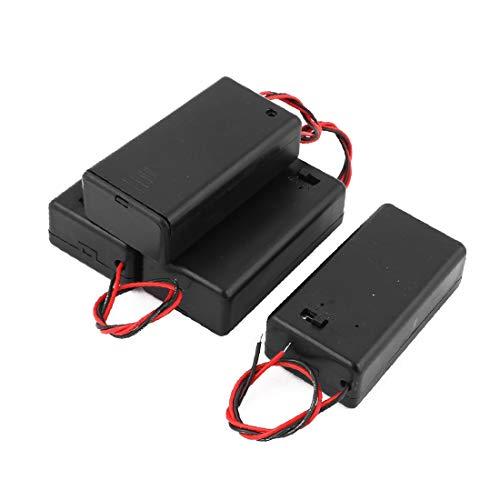 X-DREE 4pcs Negro Plástico Cable Conduce Titular de la batería Caja de la caja contenedor para 1 x 9V celular (4pcs Plastique Noir Porte-Pile Fils Boîte Fort Contenant pour 1 Pile 9V