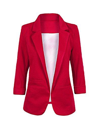 Minetom Donna Manica a 3/4 Aperto Davanti Colletto Cappotto Elegante Ufficio Business Blazer Top Gilet Corto OL Giacca da Abito Cardigan (IT 42, Vino Rosso)