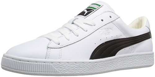 PUMA Men's Basket Classic LFS Fashion Sneaker, White/Black, 11 M US