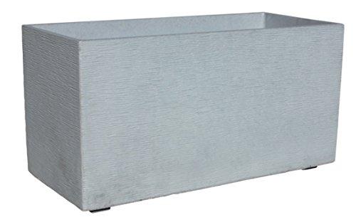 AnaParra Jardinera Rectangular Moderna en hormigón aligerado para Exterior Rectangular Pacífico 60X17X19cm. Natural Cemento