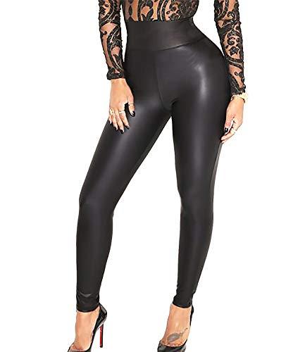 KIWI RATA Women's High Waist Faux Leather Leggings PU Butt Lifting Black Sexy Sport Yoga Pants for Causal (Matte Black, Medium)