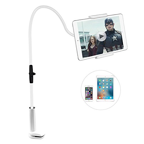 Gooseneck Tablet Holder,SHONCO Tablet Mount Holder Stand Lazy Bracket 360 Degree Rotating Flexible Long Arms Lazy Hands Free Clip-on Mount for iPad Tablet and Phone Beside Bed Desktop Chair Kitchen