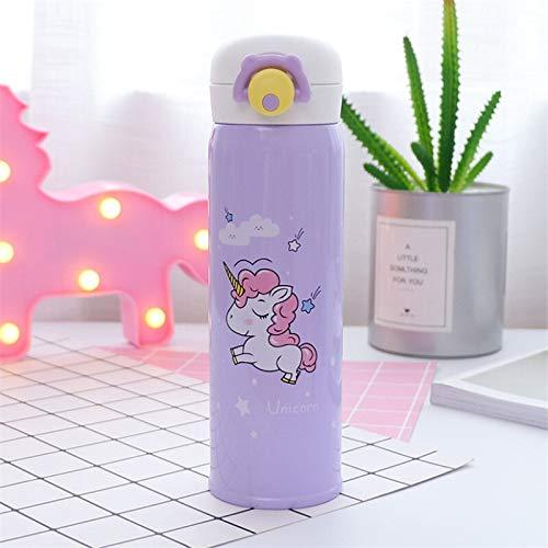 Botella de agua para niños de 500 ml, termos de té al vacío, diseño de unicornio, de acero inoxidable, taza de café, botella de agua, regalo de oficina, taza de agua (capacidad: 500 ml, color: morado)