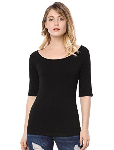 Allegra K Camiseta Medias Mangas con Cuello Redondo Ajustado Blusa para Mujer Negro S