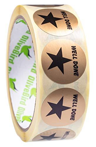 500 x beloning sticker gouden ster geslaagde ronde etiketten op rol, maat 30 mm