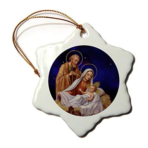 yyone Christmas Ornaments,Christmas Nativity Scene Souvenirs Snowflake Porcelain Christmas Ornament Double-Sided Ceramic Ornament,3 Inch