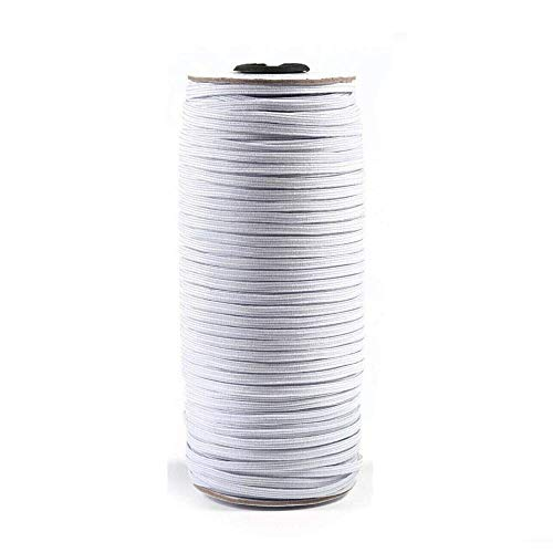 White 1/8' Width 140 Yards Length Elastic Bands for Sewing Braided Elastic Cord/Elastic Band/Elastic Rope/Flat Elastic/Bungee/Heavy Stretch Knit Elastic Spool
