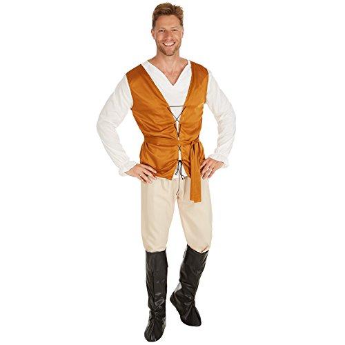 TecTake dressforfun Costume da Uomo - Contadino Medievale | Camicia a Manica Lunga, Panciotto e Comodi Pantaloni (XL | No. 301228)