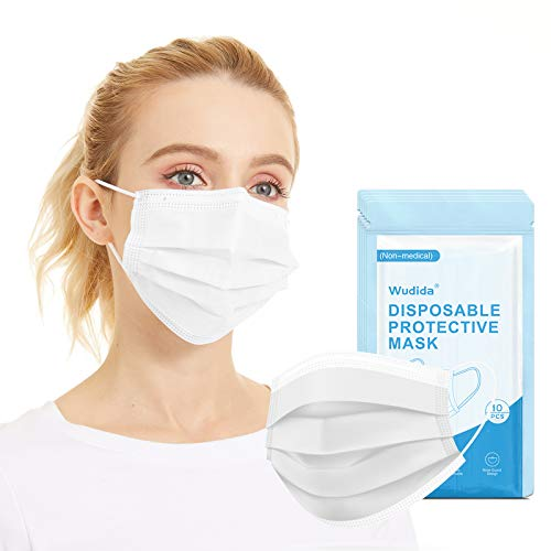 50pcs Disposable Face Masks White Non-medical for Adults, 3-Ply Breathable Non-Woven Mouth Cover Mask with Elastic Ear Loop Individually Wrapped for Home, Park, Office- 5 Pack