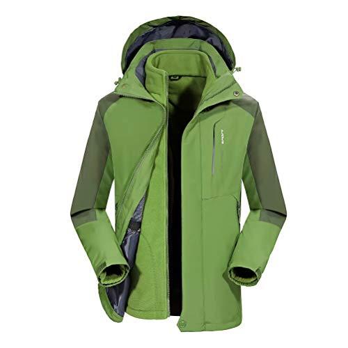 JIANYE Giacca Trekking Donna Uomo Impermeabile Giacca Montagna Traspirante Giacca Softshell Caldo Giacca 3 in 1 Verde 2XL
