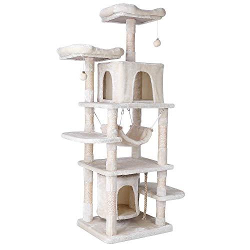 pedy 170cm katzenbaum groß Kratzbaum mit Stabiler Kletterbaum, Spielhaus,Hängematte, Höhle, Ball,Anti-Sturz-Design für Kätzchen, Katzen und Haustier(Beige)