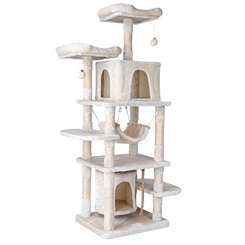 pedy Large Cat Tree, 170cm Cat Tower with Fluffy Balls/Perch Hammock/Rope, Tall Scratching Post&Activity Centre For Cats(Beige)