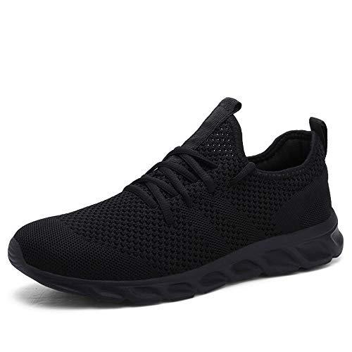 Pattrily Zapatos de correr cómodos casual de los hombres zapatillas de deporte transpirable antideslizante resistente al desgaste al aire libre caminar deporte, negro (Negro), 39 EU