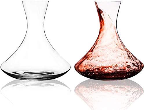 JXQ Juego de 2 decantadores de vino de 1,5 L con una base ancha, cristal de lujo hecho a mano sin plomo, jarra de vino tinto – aireador vertedor, set de filtro (1500 ml)