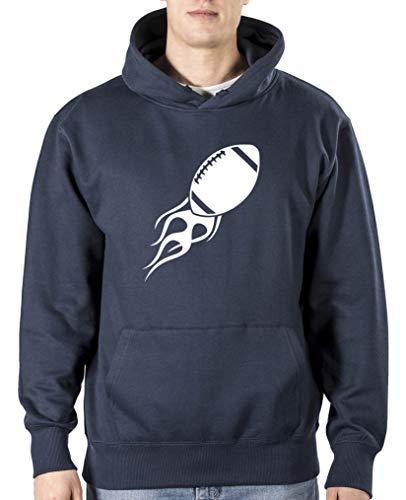 Comedy Shirts – Football brûlant – Sweat-shirt à capuche pour homme, poche kangourou, manches longues, pull imprimé - Bleu - XXL