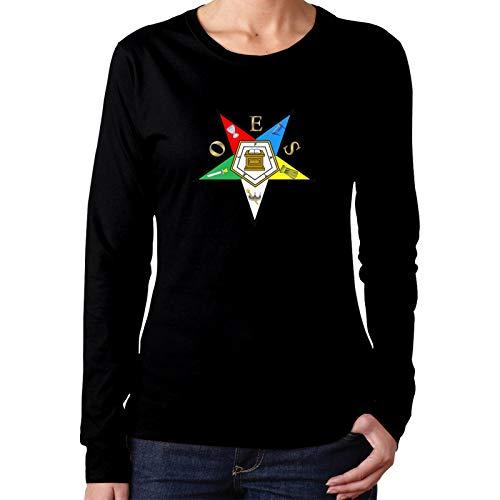Mrscsefid OES Eastern Star Woman Big Logo T-Shirts Slim Fit Long Sleeve Black
