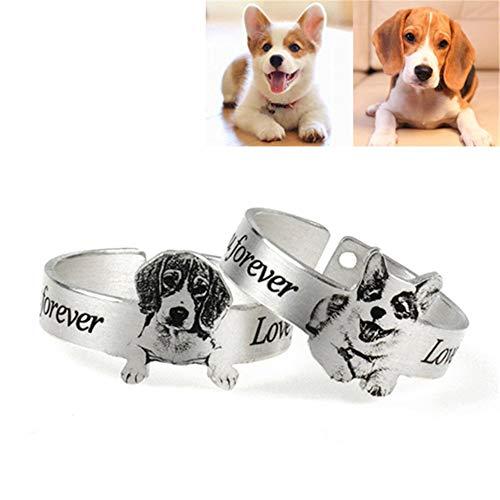 Anillo de mascota personalizado de acero de titanio perro gato imagen y texto anillo de dedo personalizado anillo ajustable regalo de joyería para mujeres hombres