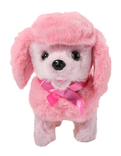 Home-X Plush Pink Poodle, Electric Dog Toys, Interactive Pets, Stuffed Animals