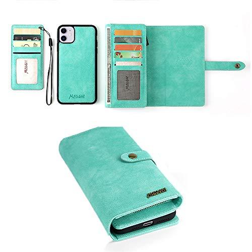 YIY iPhone XR Case, iPhone XR Wallet Case, 2-IN-1 Portemonnee Telefoonhoesje Stand Cover met Kaart/Cash Houder & Opmerking Zakken voor Apple iPhone XR, Groen