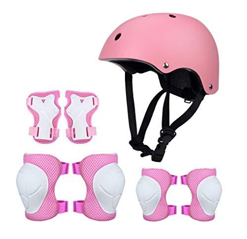 Yx-Outdoor - Juego de casco de protección para niños, para monopatín, patinaje sobre ruedas, coche, bicicleta, juego de 7 piezas, color rosa, tamaño L
