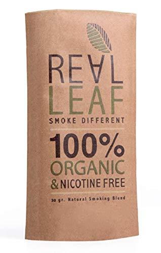 Real Leaf Natural Blend - Natürliche Kräutermischung - Tabakersatz - 100{43c93aa4d0db219b98d76359576a23ddf06b4e61421315d490d631eac75c0e18} Nikotinfrei und ohne Tabak - 30g