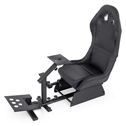 MXALS Chaise de Jeu vidéo Challenge Racing pour PC et Consoles de Jeu Play Station 2, Play Station 3, Play Station 4, Xbox, Xbox 360, Xbox One et Wii,Noir