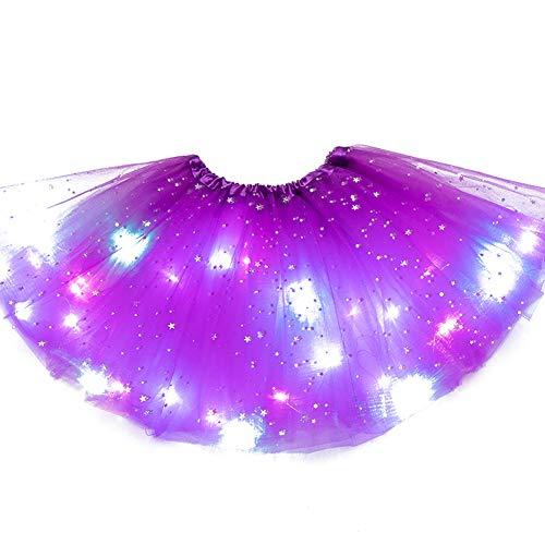SFeng - Falda de tutú con luz LED para niñas, con luz mágica y luz LED, para fiesta de Navidad luminosa SStage Performance Ballet de tul para niños y niñas (morado oscuro)