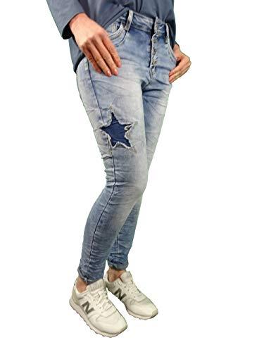 Jewelly Damen Stretch Jeans Boyfriend Cut mit offener Knopfleiste und Sternen Denim S