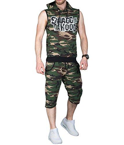 BetterStylz heren joggingpak kort Defender camouflage jas broek sportpak sportbroek fitness trainingspak sport in 2 kleuren (M-XL)