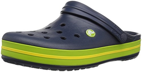 Crocs Crocband Clogs, Ciabatte Unisex-Adulto, Navy/Volt Green/Lemon, 41/42 EU