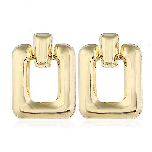 Yiiana Pendientes de gota Joyas para mujer Moda Metal Pendientes lisos geométricos Pendientes de temperamento de personalidad, B