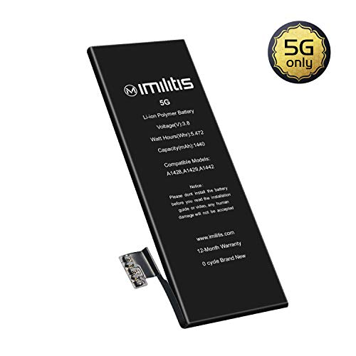 IMILITIS Capacity Replacement Battery for iPhone 5 No Tools - 1440mA 0 Cycle High Capacity Li-ion Battery - Model A1428|A1429|A1442 Battery - Adhesive & Instructions Included