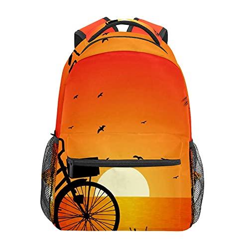 Riverside Bike Sunset Fahrrad Daypack Rucksack Schule College Reisen Wandern Mode Laptop Rucksack für Damen Herren Teenager Casual Schultaschen Canvas