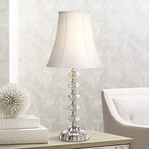 Bohemian Cottage Accent Table Lamp Clear Stacked Glass Off White Bell Shade for Living Room Family Bedroom Bedside Office - 360 Lighting