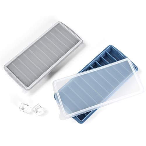 Ice Cube Tray With Lids 2 Pack, Stick Cube Trays with Easy Push and Pop Out Material, Ideal for Sports and Water Bottles