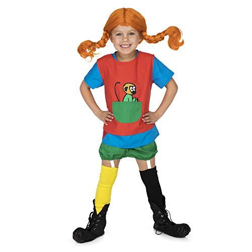 Micki & Friends 44377900 - Pippi Langstrumpf Verkleidung - 110-122 cl (4-6 Jahre) - Kleid - Schürze mit Tasche - Shorts - Strümpfe - Strumpfbänder