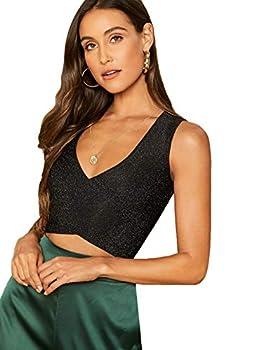 Floerns Women s Glitter V Neck Tie Back Tank Tops Going Out Clubwear Crop Tops Black S