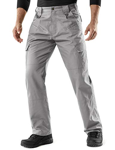 CQR Men's Tactical Pants, Water Repellent Ripstop Cargo Pants, Lightweight EDC Hiking Work Pants, Outdoor Apparel, Duratex(tlp106) - Stone, 32W x 32L