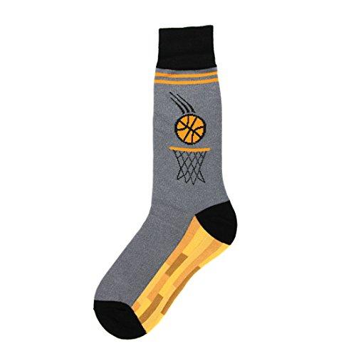 Foot Traffic, Men's Sports-Themed Socks, Basketball (Men's Shoe Sizes 7-12)