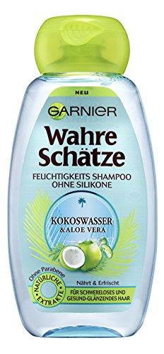 Garnier Wahre Schätze Feuchtigkeits Shampoo Kokoswasser und Aloe Vera, nährt, erfrischt und spendet Feuchtigkeit, ohne zu beschweren, 6er-Pack (6 x 250 ml)