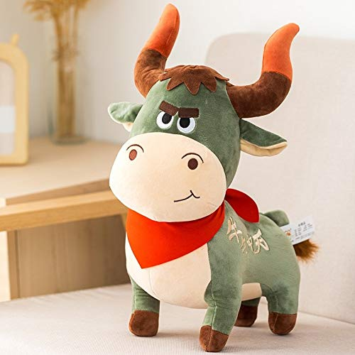 HOUMEL Creative Cartoon Cattle Plush Toy, Cute Colorful Cow Ragdoll Baby Pillow Cushions Doll Cuddle Comforter Toy Gift Toys For Boys And Girls Toddler 350 (Color : Green, Size : 30cm)