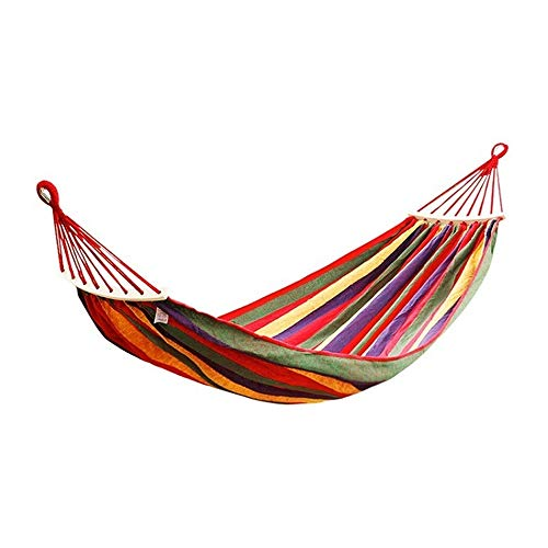 LINGJIE Outdoor Canvas Hammock, 280 X 180 Cm, Max Load Capacity 300 Kg, Garden Hammock With Wooden Spreading Bars And Carry Bag, Perfect Use For Yard, Camping, Beach And Patio,Red
