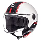 MT Street - Casco jet para moto, scooter, scooter, scooter, estilo retro, retro, retro, estilo piloto, ECE 22.05 (Entire blanco, talla S)