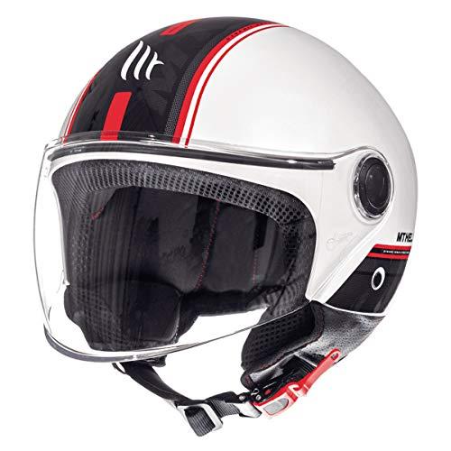 MT Street - Casco jet para moto, scooter, scooter, scooter, estilo retro, retro, retro, estilo piloto, ECE 22.05 (Entire blanco, talla S)