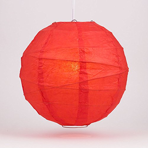 Luna Bazaar Premium Paper Lantern, Lamp Shade (24-Inch, Free-Style Ribbed, Poppy Red) - Rice Paper Chinese/Japanese Hanging Decoration - For Home Decor, Parties, and Weddings