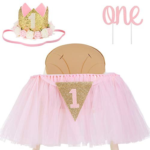 1st Birthday Girl Decoration High Chair Tutu Skirt WITH No.1 Crown -1st Birthday Decorations Cake Smash for Baby Girls - First Birthday Banner, Princess Crown and