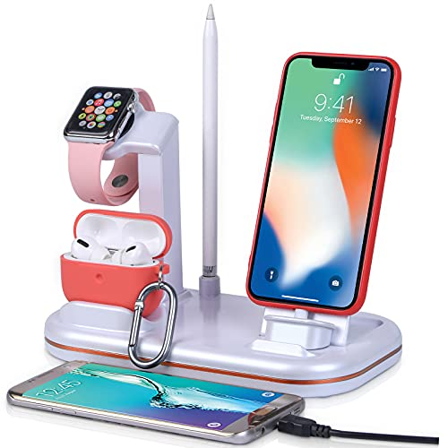 Lxtopdk Charging Stand for Apple Watch Charger, 4 in 1 Charger Station for Apple iWatch 6/SE/5, Build-in Charging Cable for iPhone 12/iPad/iPod/Airpods Pro,Pencil Holder Dock with 2 USB Ports-White